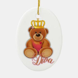 Oval Keramik Ornament Goldfaden Krone Teddy Diva