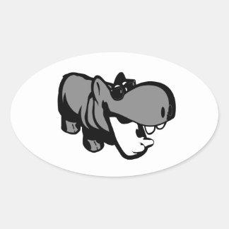 Ovale Aufkleber, Lech - Sommerzeit-Flusspferd Ovaler Aufkleber