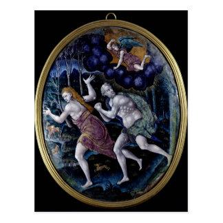 Ovale Plakette, die Adam und Eve darstellt Postkarte