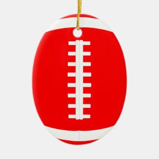Ovale rote Fußball-Weihnachtsverzierung für Keramik Ornament