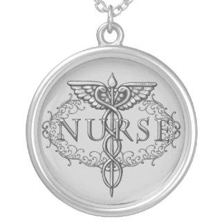 Ovale silberne Caduceus-Krankenschwester-runde Versilberte Kette