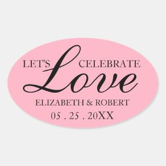Ovaler rosa Hochzeits-Aufkleber-Brauteinladung Ovaler Aufkleber