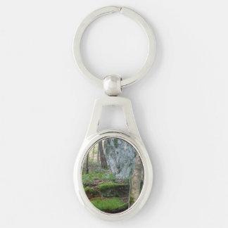 Ovales Metall Keychain mit üppiger Waldszene Schlüsselanhänger