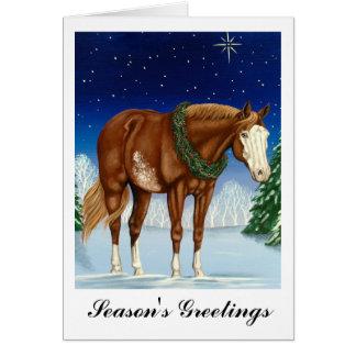 Overo die Grüße der Jahreszeit Farben-Pferd Karte