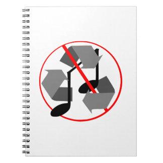 Overplayed recycelte Musik Notizblock