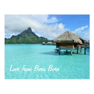 Overwater Erholungsort auf Bora Bora Postkarte