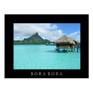 Overwater Erholungsort auf Bora Bora schwarzer Postkarte