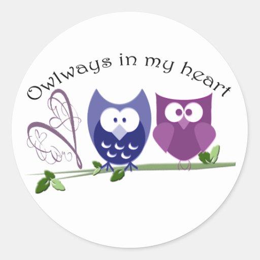 Owlways in meinem Herzen, niedliche Eulen-Geschenk Runde Aufkleber