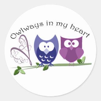 Owlways in meinem Herzen, niedliche Runder Aufkleber