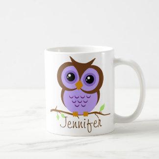 Owly lila personalisiertes kaffeetasse