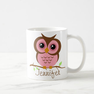 Owly rosa personalisiertes kaffeetasse