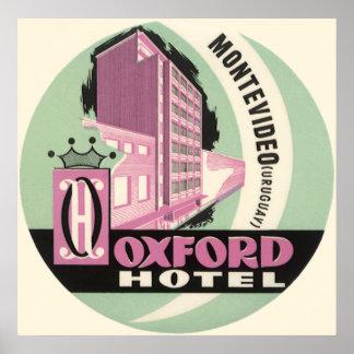 Oxford-Hotel, Montevideo, Uruguay, Vintage Reise Poster