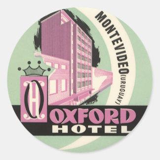 Oxford-Hotel, Montevideo, Uruguay, Vintage Reise Runder Aufkleber