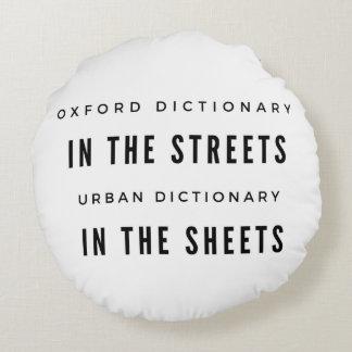 Oxford-Wörterbuch in der STRASSE… Rundes Kissen