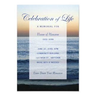 Ozean-Blau-Feier der Leben-Denkmal-Einladung Karte