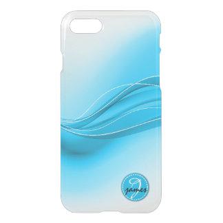 Ozean-Blau-modernes Wellen-Monogramm iPhone 8/7 Hülle