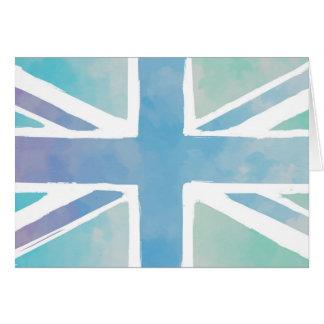 Ozean-Blau und Grün - Aquarell-Briten-Flagge Karte