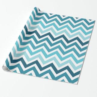 Ozean-Blau Zickzack Ombre Verpackungs-Papier Geschenkpapier