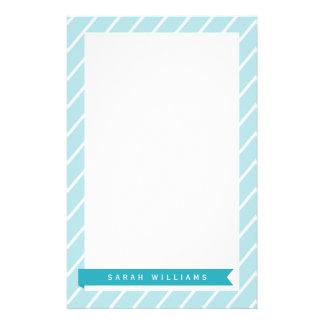 Ozean-blaue Streifen-Muster-Briefpapier Briefpapier