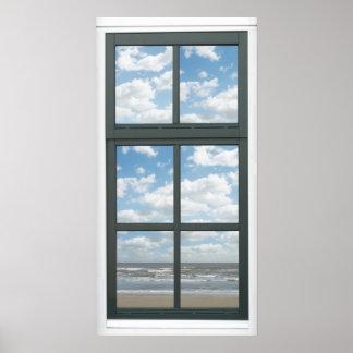 Ozean-Fake-Fenster-Ansicht-Plakat Poster