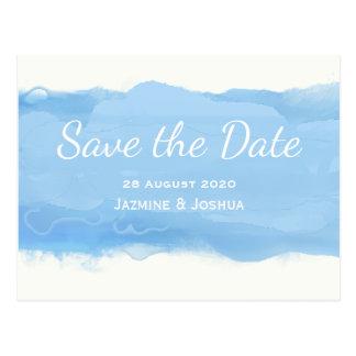 Ozean-Himmelblau Watercolor Save the Date Postkarte