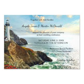 Ozean-Leuchtturm-Hochzeits-Einladung Karte