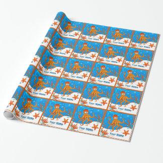 Ozean-niedliche Wasserkraken-kundenspezifische Geschenkpapier