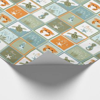 Ozean-Patchwork Geschenkpapier