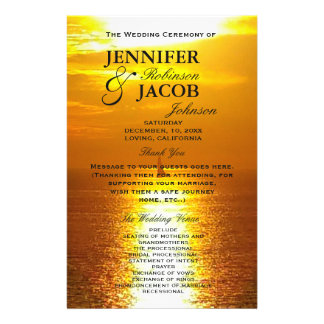 Ozean-Sonnenuntergang des Programm-| golden 14 X 21,6 Cm Flyer