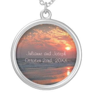 Ozean-Sonnenuntergang - Eichen-Insel, NC Versilberte Kette