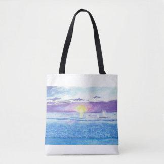 Ozean-Sonnenuntergang mit Wal-Aquarell-Tasche Tasche