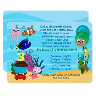 Ozean-Tier-Geburtstags-Einladungen unter dem Meer 12,7 X 17,8 Cm Einladungskarte