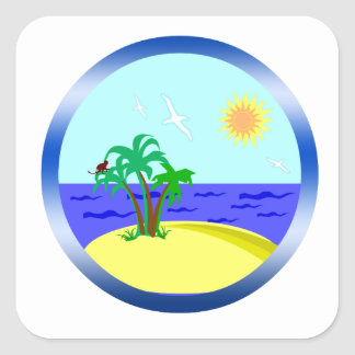 Ozean und Sonnenlicht Quadratischer Aufkleber