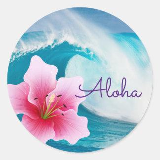 Ozean-Welle und rosa Orchidee - runde Aufkleber