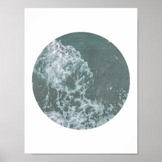 Ozean-Wellen-beunruhigter Druck Poster