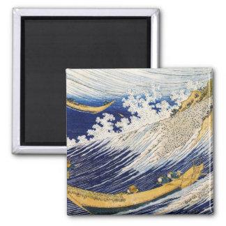 Ozean-Wellen Katsushika Hokusai Meisterwerkkunst Quadratischer Magnet