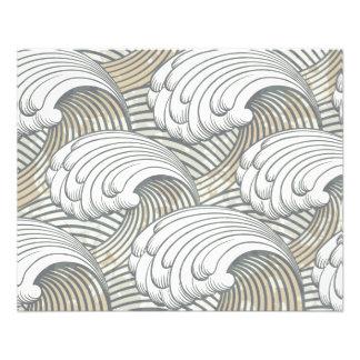 Ozean-Wellen-Muster-alte Japan-Kunst 11,4 X 14,2 Cm Flyer