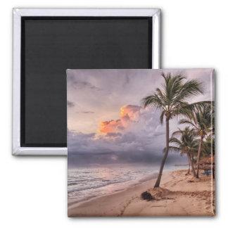 Ozean-Wellen-Sandy-Strand-Sonnenuntergang Quadratischer Magnet