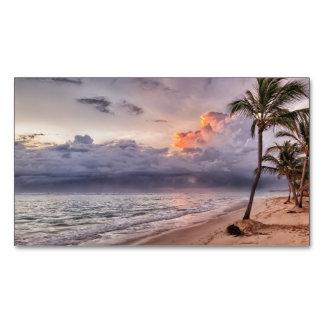 Ozean-Wellen-Sandy-Strand-Sonnenuntergang Visitenkartenmagnet