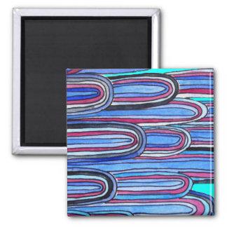 Ozean-Wellenaquablaumuster Quadratischer Magnet