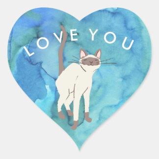 Ozeanische siamesische Katzen-Liebe Sie Herz-Aufkleber