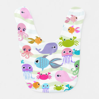 Ozeanseekrake, Krabbe, Fisch, Quallen Babylätzchen