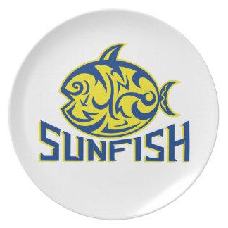 Ozeansunfish-Stammes- Kunst Melaminteller