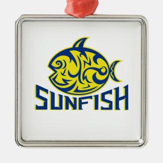 Ozeansunfish-Stammes- Kunst Quadratisches Silberfarbenes Ornament
