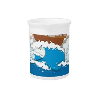 Ozeanszene mit Segelboot Krug