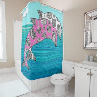Ozeanwellen-Rosaweiß mehndi Delphine abstraktes Duschvorhang