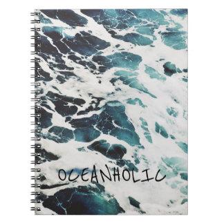 Ozeanwellen-Seenatur zitiert Notizbuch des blauen Notizblock