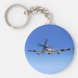 P51Mustang WW2 Kämpfer-Flugzeug Keychain Standard Runder Schlüsselanhänger
