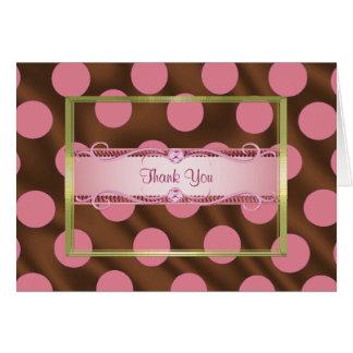 P6 rosa Brown Silk Tupfen danken Ihnen zu Karte