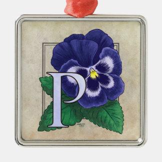 P für Pansy-Blumen-Monogramm Silbernes Ornament